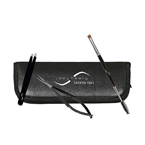 (Eyebrow Tools Essentials Kit, Brow Scissor, Elite Sculpting Tweezer, Duo Brow Brush & Black Case)