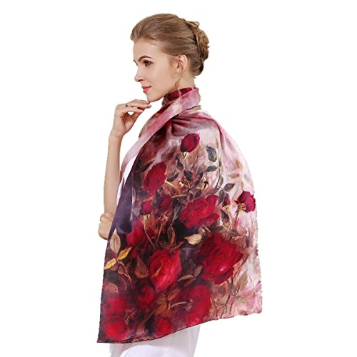 Silk Scarf Shawl Wrap Art - Women's 100% Charmeuse Mulberry Silk Long Scarf For Gift Hair Ladies Shawls Floral And Butterfly Scarf
