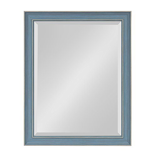 Kate and Laurel Harvest Decorative Framed Wall Mirror, 21.5 x 27.5 Inches, Rustic Blue by Kate and Laurel