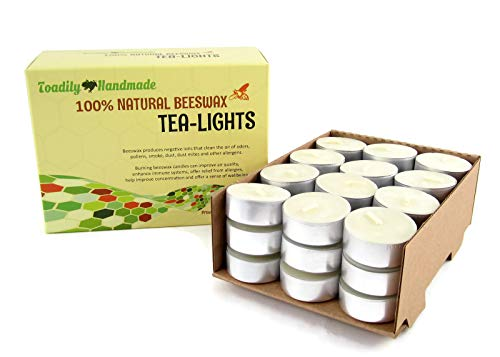 - Toadily Handmade Beeswax Candles 36 Hand Poured Beeswax Tea-Light Candles in Ivory - Metal Cups & Chemical Free Cotton Wicks - 100% Beeswax Candles Made in The USA
