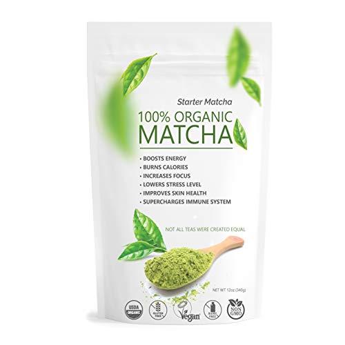 Starter Matcha - USDA Organic, Non-GMO Certified, Vegan and Gluten-Free. Pure Matcha Green Tea Powder. Grassy Flavor with Mild Natural Bitterness