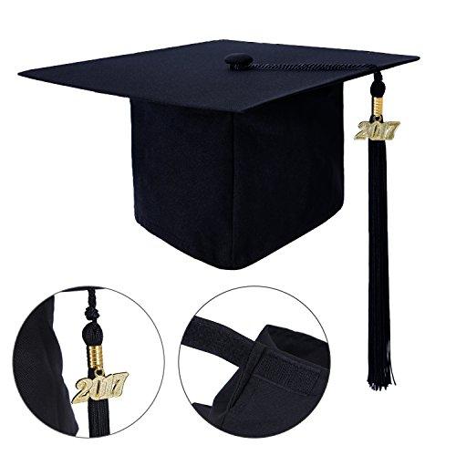 Graduation Cap, CrystalMX Hat Classic Graduation Cap with Loop Tassel 2017, Black
