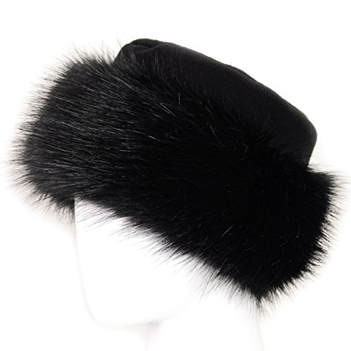 Futrzane Faux Fur Hat with Fleece Winter Ladies Women (S, Black/Black)