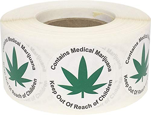 Contains Medical Marijuana Keep Out of Reach of Children Warning Labels Cannabis 1 Inch Round Circles 500 Adhesive Stickers ()