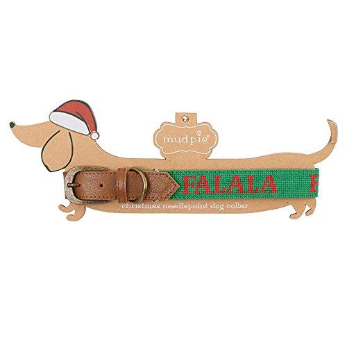 Mud Pie Christmas Themed Needlepoint Dog Collar (Large, Fa La La)