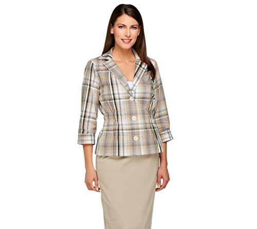 Joan Rivers Madras Plaid Signature Jacket 3/4 Slvs A254082, Neutral Combo, (Madras Blazer)