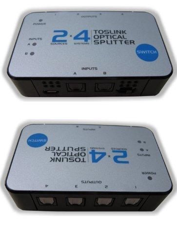 2x4 TOSlink Optical Audio Splitter Distribution Amplifier Amp Distributor Multiplier