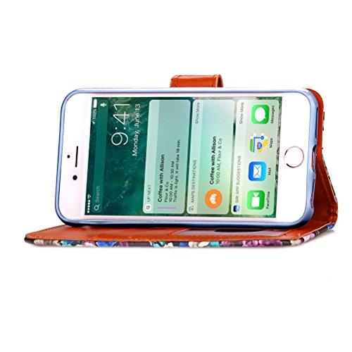 Funda Libro para iPhone 8 Plus,Manyip Suave PU Leather Cuero Con Flip Cover, Cierre Magnético, Función de Soporte,Billetera Case con Tapa para Tarjetas, Funda iPhone 8 Plus B