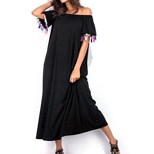 vovotrade Dama de encaje de hombro vestido de manga corta vestido de fiesta de noche