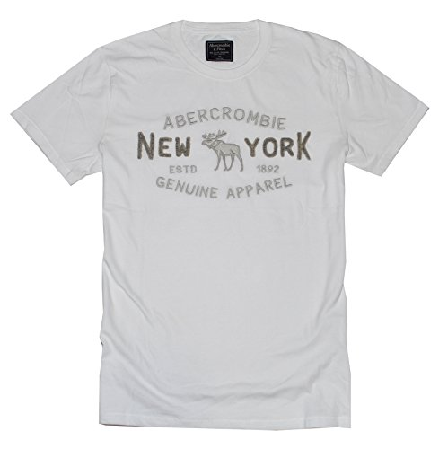 Abercrombie & Fitch Men Embroidered Graphic Logo Tee (L, White)