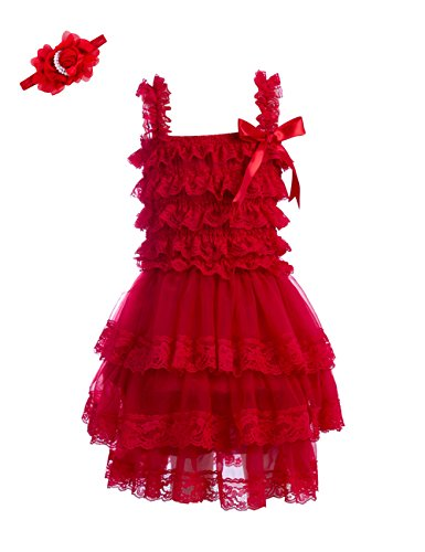 - Zcaynger Baby Girls Dress with Pearl Headband 3 Layer Lace Flower Fluffy Princess Dress(S,Red)