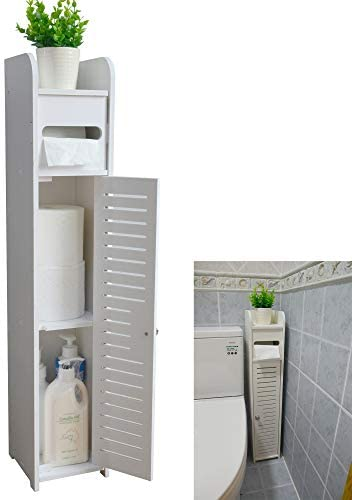 Small Bathroom Storage Corner Floor Cabinet with Doors and Shelves, Thin Toilet Vanity Cabinet, Narrow Bath Sink Organizer, Towel Storage Shelf for Paper Holder, White by way of AOJEZOR