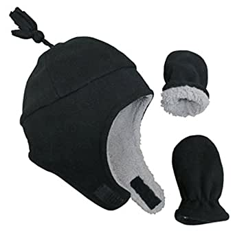 N'Ice Caps Little Boys and Baby Sherpa Lined Micro Fleece Pilot Hat Mitten Set (3-6 Months, Black Infant)