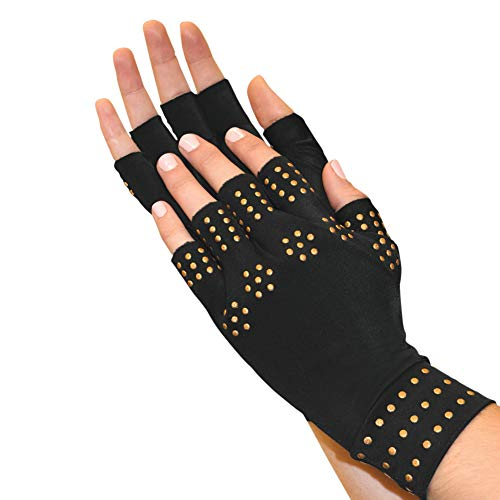 Magnetic Arthritis Therapy Fingerless Compression Gloves, Black, Black, Large