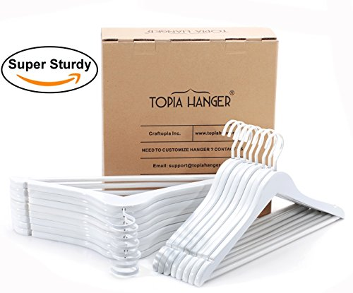 TOPIA HANGER Extra Strong White Wooden Suit Hangers, Luxury Wood Coat Hangers, Glossy Finish with Extra Thick Hooks&Anti-slip Bar 16-Pack CT01W