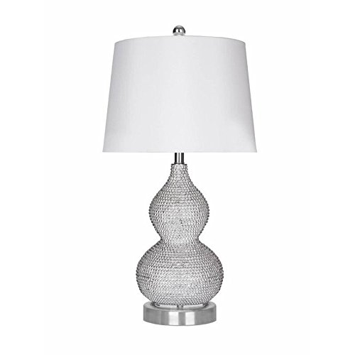 Abbyson Living Beaded Table Lamp in Silver (Set of 2)