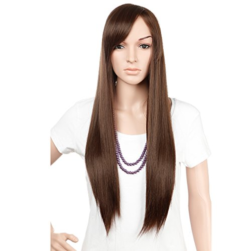 Diy Evie Costume (28'' / 70cm Heat Resistant Synthetic Wig Japanese Kanekalon Fiber Full Wig with Bangs Long Straight Full Head for Women Girls Lady Fashion and Beauty Medium Brown)