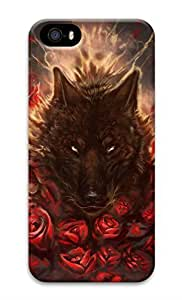 iPhone 5 Case, Personalized Custom Hard 3D Black Red Wolf Tatto Durable Case Cover for iPhone 5 5S