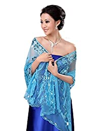 Dobelove Women's Sequined Wedding Shawl Wrap Formal Evening Party Scarves