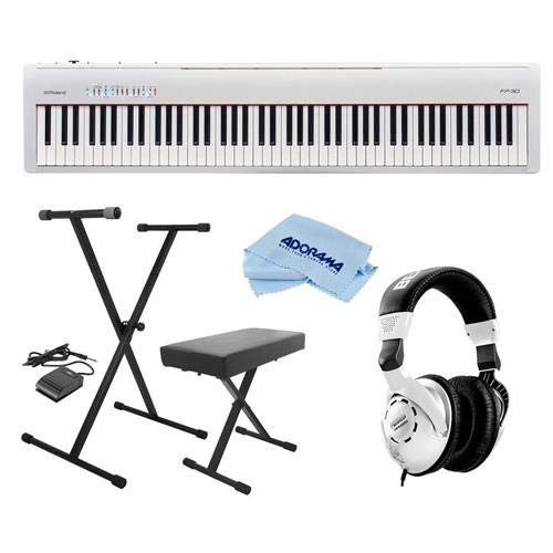 Roland P-30 88 Keys SuperNATURAL Digital Portable Piano, White - Bundle With On-Stage KPK6520 Keyboard Stand/Bench Pack with Sustain Pedal, Behringer HPS3000 HP Studio Headphones, Microfiber Cloth