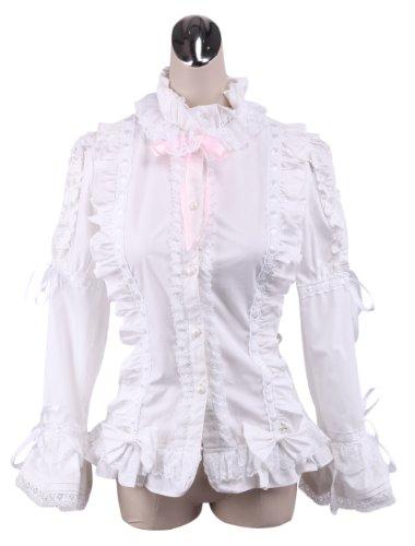 AvaLolita White Lace Ruffles Gothic Lolita Blouse with Pink Ribbon, XL
