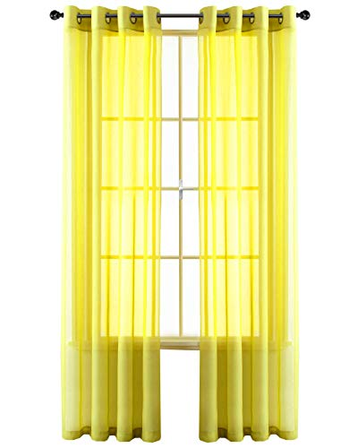 GoodGram 2 Pack Ultra Luxurious High Woven Elegant Sheer Grommet Curtain Panels - Assorted Color (Yellow) -