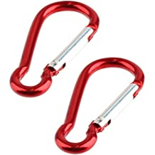 Key Clip Carabiner Keychain D Ring Hook Spring Loaded (2 Pack) - Red