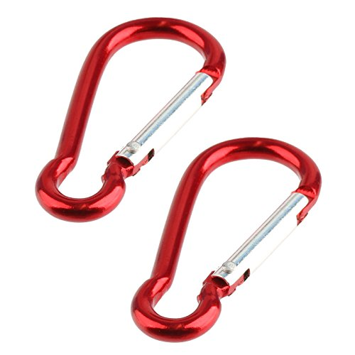 eychain D Ring Hook Spring Loaded (2 Pack) - Red (Red Cat Racing Ball)
