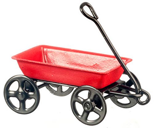 Dollhouse Miniature Small Red Wagon 1:24 Scale ()