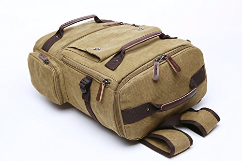 Canvas Aidonger Rucksack Khaki Backpack Vintage Unisex Hiking Backpack Laptop HqREq