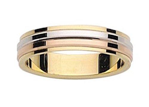 DESTINY - www.diamants-perles.com - Alliance brillante 3 Ors - Mariage - Or 375/1000 - 9 carats - Largeur 4,5 mm