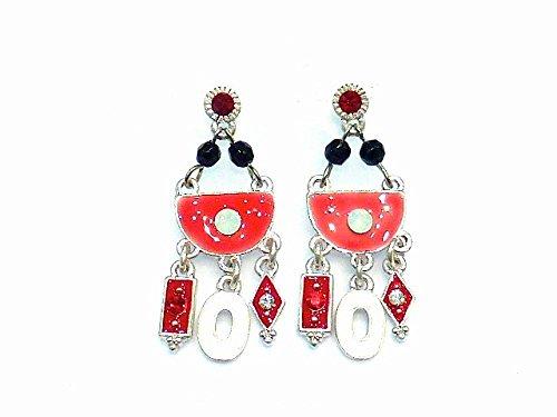 rougecaramel - Bijoux - Boucles d'oreilles pendantes émail et strass - rouge