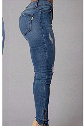 La Mujer Rasgada Hoyos Slim Demin Jeans De Cintura Alta Blue M