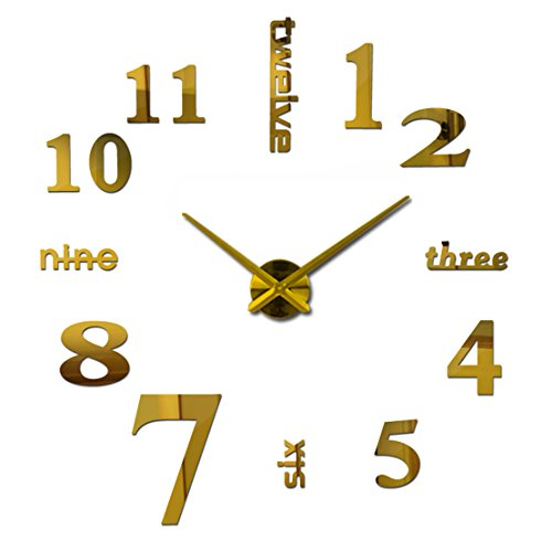 3D DIY Acrylic Mirror Wall Sticker Clock Home Decoration Gold - 6