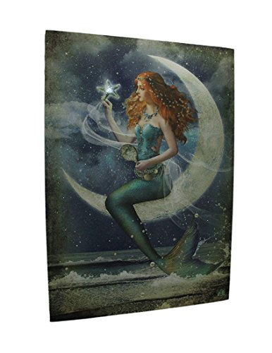 Vintage-Blue-Mystical-Mermaid-On-the-Moon-LED-Lighted-Canvas-Print