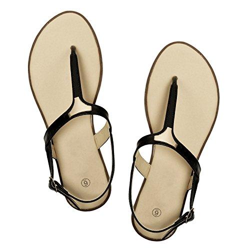 Rekayla Flat Thong Ankle Strap Sandals with Fashion Triangle Metal for Women Black 08 by Rekayla
