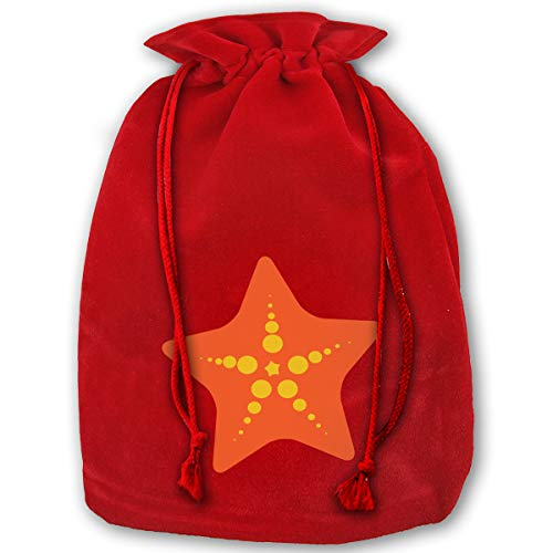 LOUXIO Top Sea Star Clipart File Free Christmas Drawstring Gift Bags Santa Storage Sack Backpack for Party Favors Candy Delicate Printing ()