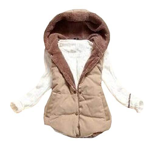 Fleece Women's Short Vest Jacket Thick Overcoat H amp;E Warm Fit Khaki Hoodie Slim 5EAwRvq