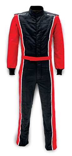- Impact Racing 2 Layer SFI 3.2A/5 rated Black/Red Large Racer 1 Piece Driving Suit 24215507