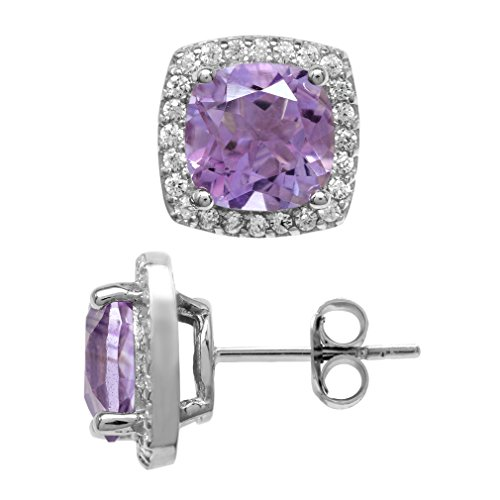 3.8ct. Natural Cushion Shape Amethyst White Gold Plated 925 Sterling Silver Halo Stud Earrings