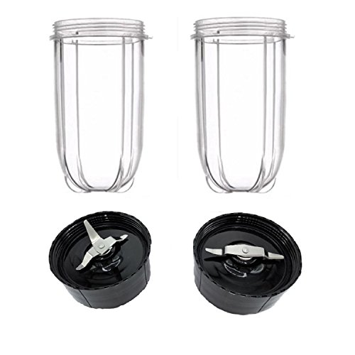 (Blendin 2 Pack Tall Cups with Cross and Flat Blade Combo,Fits Original Magic Bullet Blender Juicer 250W MB-1001)
