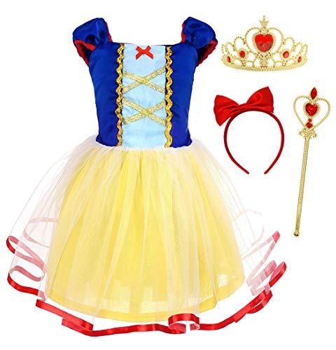 HenzWorld Snow White Princess Costume Birthday Party Dress Accessories Tiara Wand Set 2t -
