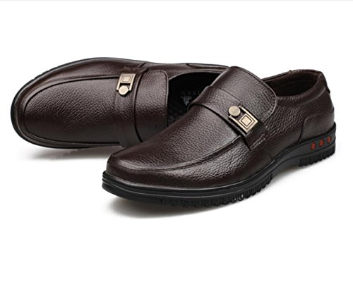 WZG affaires chaussures casual chaussures en cuir chaussures pour hommes en cuir dentelle ronde crampons en cuir de chaussures d'automne hommes 9.5 , brown , 43