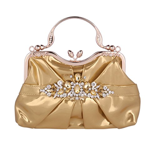 PU Womens Gold Lock Damara Metal Handle Bag Handbag Kissing Evening xwqaaCIX