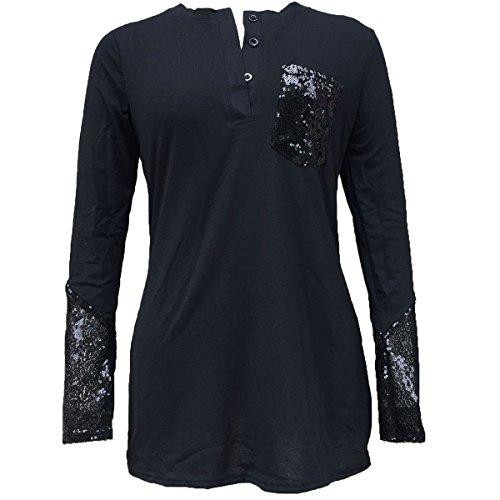 Manches Longues Chemisier shirts l'automne longue Poche T femme Bouton Black Tunique Avant T Femmes Rond Col shirts Paillettes Chemise QHDZ 1xwtIEpwq