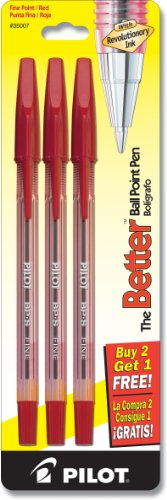 (Pilot The Better Ballpoint Stick Pens, Fine Point, 2-Pack, Red Ink (35007) )