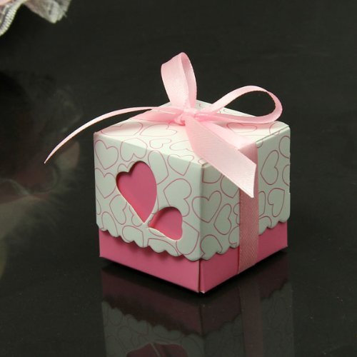 Kubert® NEW Hollow Out Love Heart Bowknot Pattern Die Cut DIY Square Wedding Bridal Favor Candy Gift Boxes Box Wedding Party Decoration Kit 50pcs Wedding Favor Dress & Tuxedo Bride and Candy Box Decoration Candy Boxes - Including Satin Ribbon (Pink)