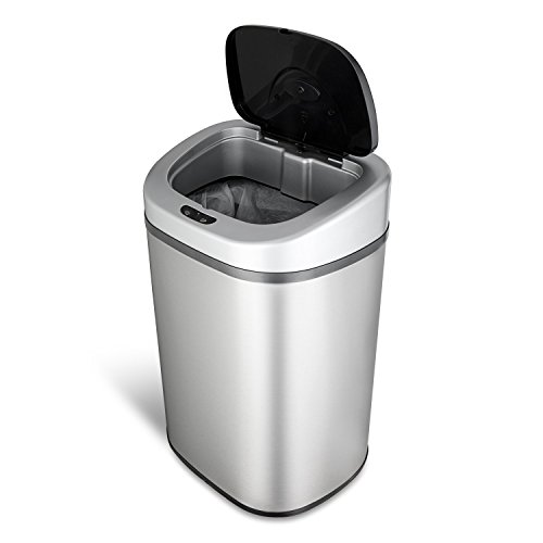 Range Plastic Infrared (Ninestars DZT-80-4 Automatic Touchless Motion Sensor Oval Trash Can, 21 Gal. 80 L, Stainless Steel)