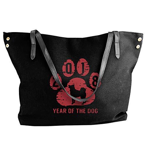 (SW98Q98 Red Happy 2018 Year of The Dog Women's Recreation Shoulder Bag Canvas Handbag for Work Handbag)