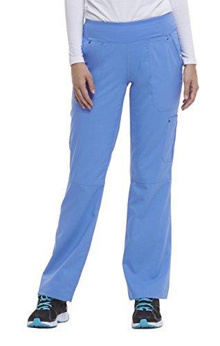 healing hands Purple Label Yoga Women's Tori 9133 5 Pocket Knit Waist Pant Scrubs- Ceil Blue- X-Small Petite ()